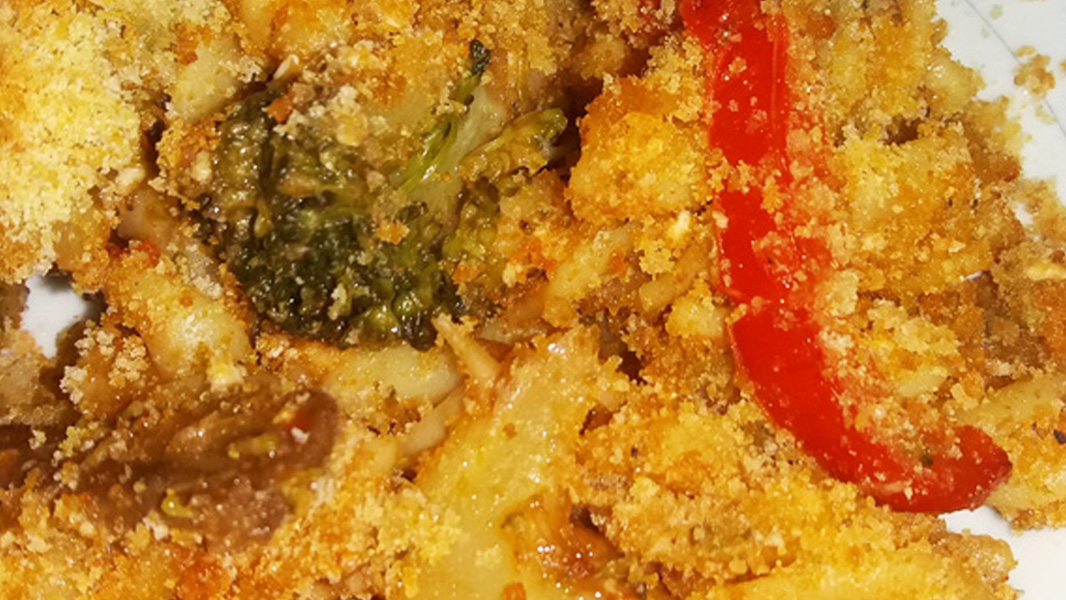 Baked pasta with vegetables frugal recipe