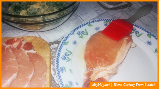 cheesy sliced pork loin in garlic crumb crust