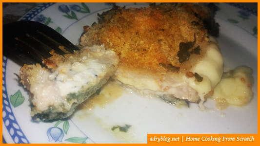 cheesy sliced pork loin in garlic crumb crust