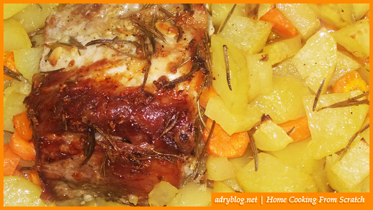 Roasted pork loin with potatoes